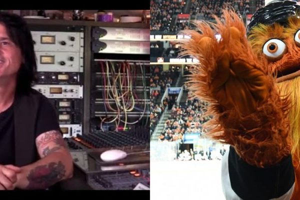 The unofficial Flyer's mascot and the official one, Anthony Esposito and Gritty!